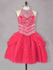 Glamorous Ball Gowns Pageant Dresses Coral Red Halter Top Tulle Sleeveless Mini Length Lace Up