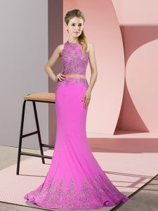 Custom Design Beading and Appliques Pageant Gowns Lilac Zipper Sleeveless Sweep Train