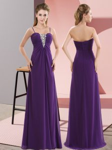 Affordable Floor Length Zipper Pageant Dress Womens Purple for Prom and Party with Beading