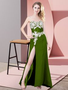 Modern Olive Green Sleeveless Lace and Appliques Floor Length Pageant Dress for Girls
