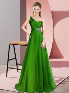 Green Sleeveless Chiffon Brush Train Criss Cross Evening Gowns for Prom and Party