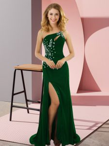 Delicate Dark Green Elastic Woven Satin Lace Up One Shoulder Sleeveless Pageant Dress Wholesale Sweep Train Beading