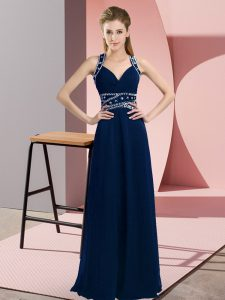 Captivating Straps Sleeveless Pageant Dress Toddler Floor Length Beading Navy Blue Chiffon