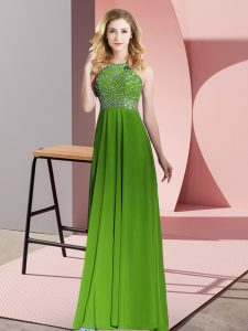Sleeveless Beading Backless Evening Gowns