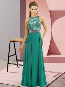 Traditional Turquoise Side Zipper Scoop Beading Pageant Dress for Teens Chiffon Sleeveless
