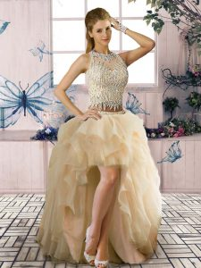 Fashion Tulle Sleeveless High Low Winning Pageant Gowns and Beading and Ruffles