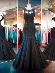 Floor Length Backless Pageant Dress for Womens Black for Prom and Party and Military Ball with Lace