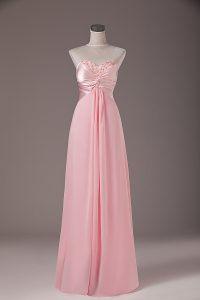 Baby Pink Empire Chiffon Sweetheart Sleeveless Beading Floor Length Lace Up Pageant Dress for Teens