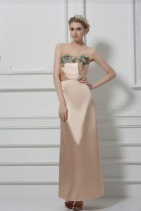 Latest Champagne Sleeveless Lace and Appliques Floor Length Pageant Dress Wholesale