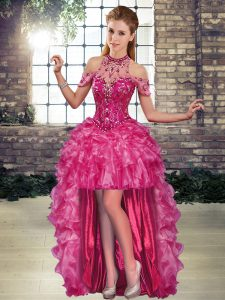 Trendy High Low A-line Sleeveless Fuchsia Pageant Dress Lace Up