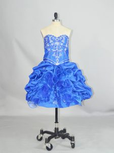 Most Popular Blue Organza and Taffeta Lace Up Sweetheart Sleeveless Mini Length Evening Gowns Beading and Ruffles and Pick Ups