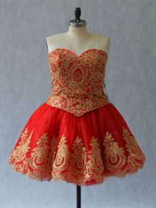 Red Pageant Dresses Prom and Party with Appliques and Embroidery Sweetheart Sleeveless Lace Up