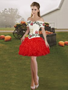 Luxurious Sleeveless Organza Mini Length Lace Up High School Pageant Dress in Red with Embroidery and Ruffles