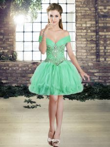 Apple Green Lace Up Off The Shoulder Beading and Ruffles Pageant Dress for Womens Tulle Sleeveless