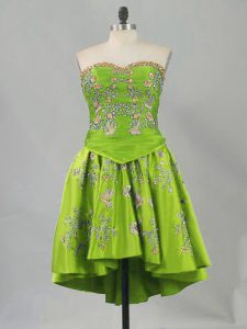 Glamorous Olive Green Sweetheart Lace Up Embroidery Custom Made Pageant Dress Sleeveless
