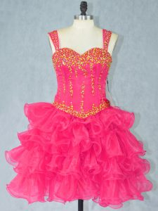 Halter Top Sleeveless Lace Up Pageant Dress for Teens Hot Pink Organza