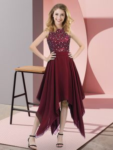 Glorious Burgundy Sleeveless Beading and Sequins Asymmetrical Pageant Dress for Teens