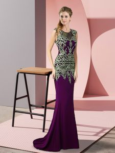 High Quality Sleeveless Appliques Zipper Pageant Dress Toddler with Dark Purple Sweep Train