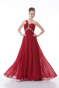 Red Sleeveless Chiffon Backless Pageant Dresses for Prom and Party and Military Ball