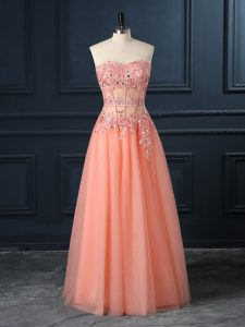 Chic Sleeveless Tulle Floor Length Zipper Evening Gowns in Orange with Lace and Appliques