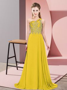 Dazzling Floor Length Gold Pageant Dress for Teens Chiffon Sleeveless Beading