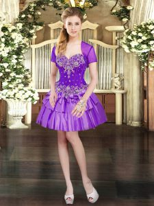 Delicate Purple Lace Up Custom Made Pageant Dress Beading and Ruffled Layers Sleeveless Mini Length