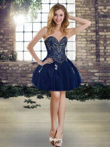 Sleeveless Tulle Mini Length Lace Up Pageant Dress for Teens in Navy Blue with Beading