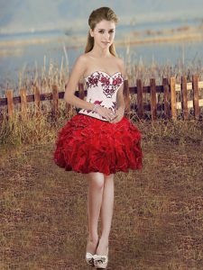 Adorable Red Sleeveless Embroidery and Ruffles Mini Length Pageant Dress for Teens