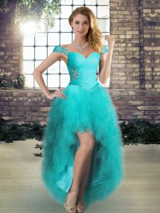 Aqua Blue Tulle Lace Up Off The Shoulder Sleeveless High Low Glitz Pageant Dress Beading and Ruffles