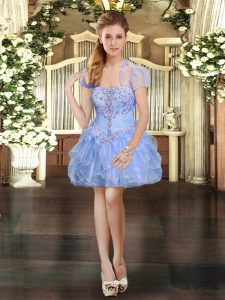 Customized Mini Length Ball Gowns Sleeveless Light Blue Pageant Dress for Womens Lace Up