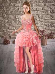 Best Selling Straps Sleeveless Organza Pageant Dress Toddler Beading and Ruffled Layers Lace Up