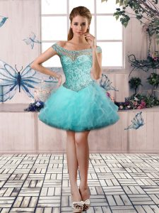 Traditional Aqua Blue Tulle Lace Up Pageant Dress for Womens Sleeveless Mini Length Beading and Ruffles