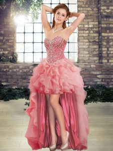 Sweetheart Sleeveless Lace Up Custom Made Pageant Dress Watermelon Red Tulle