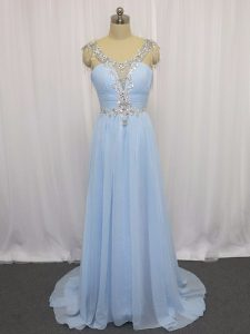 Sleeveless Beading and Ruching Zipper Pageant Dress for Girls with Blue Brush Train