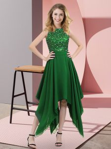 Admirable Dark Green Sleeveless Asymmetrical Beading and Sequins Zipper Winning Pageant Gowns