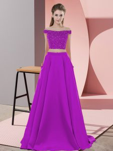 Low Price Sleeveless Elastic Woven Satin Sweep Train Backless Custom Made Pageant Dress in Purple with Beading