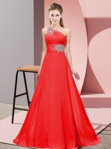 Chic Red One Shoulder Lace Up Beading Pageant Dress Brush Train Sleeveless
