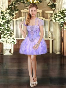 High Quality Lavender Sleeveless Beading and Lace and Ruffles Mini Length Pageant Dress for Girls