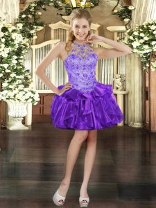 Low Price Purple Lace Up Halter Top Beading and Ruffles Pageant Dress for Girls Organza Sleeveless