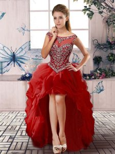 Red Pageant Dress Wholesale Prom and Party with Beading and Ruffles Scoop Sleeveless Zipper