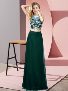Sumptuous Chiffon Scoop Sleeveless Backless Beading Custom Made Pageant Dress in Peacock Green