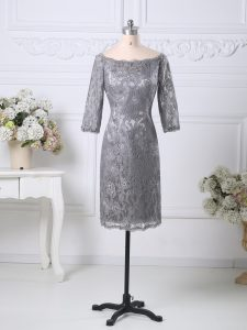 Hot Selling Knee Length Column/Sheath Half Sleeves Grey Pageant Gowns Zipper