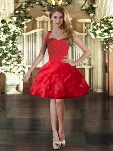 Stunning Mini Length Ball Gowns Sleeveless Red Pageant Dress Wholesale Lace Up