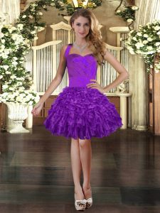Sleeveless Mini Length Ruffles Lace Up Pageant Dresses with Purple