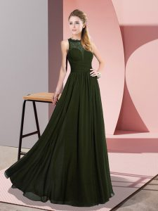 Lace Pageant Gowns Olive Green Zipper Sleeveless Floor Length