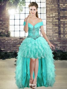 Luxurious Aqua Blue Lace Up Pageant Dress Womens Beading and Ruffles Sleeveless High Low