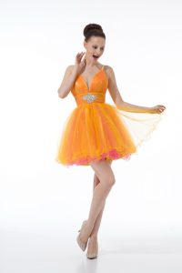 New Arrival Ball Gowns Evening Gowns Orange Straps Tulle Sleeveless Mini Length Zipper