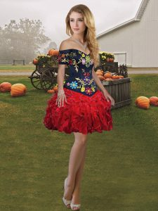 Excellent Sleeveless Lace Up Mini Length Embroidery and Ruffles Evening Gowns