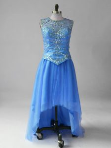Blue Scoop Lace Up Beading Pageant Dress Toddler Brush Train Sleeveless