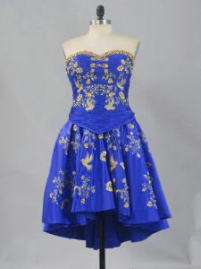 A-line Pageant Dress Womens Royal Blue Sweetheart Taffeta Sleeveless Mini Length Lace Up